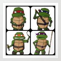 ninja turtle Art Prints featuring Teenage Mutant Ninja Turtle by Robbleeart