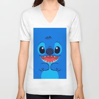 stitch V-neck T-shirts featuring Stitch by skyetaylorrr