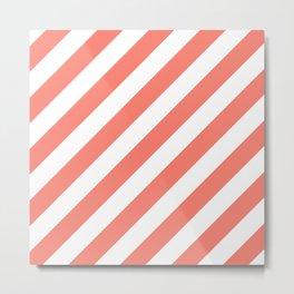 Diagonal Stripes (Salmon/White) Metal Print