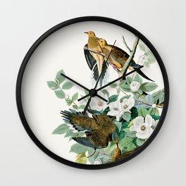 Carolina Turtle Dove, Birds of America by John James Audubon Wall Clock