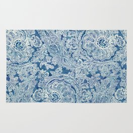 Blue Boho Paisley Pattern Rug