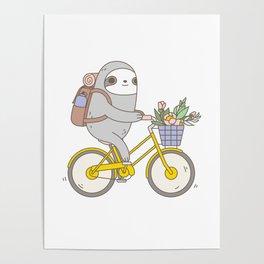 Biking Sloth Poster