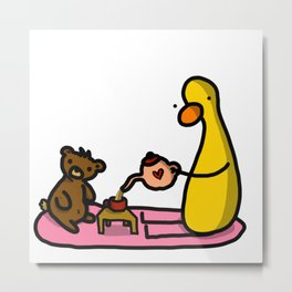 Teddy + Duck Tea Party | Veronica Nagorny Metal Print