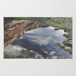 Dream Lake at the mountains. Retro Rug