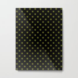 Electric Yellow on Black Snowflakes Metal Print