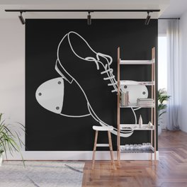 Tap shoes - white line on black background  Wall Mural