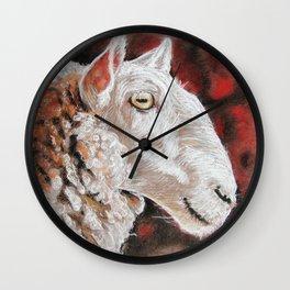 """Pastel Drawing """"Sheepish Grin"""" Wall Clock"""