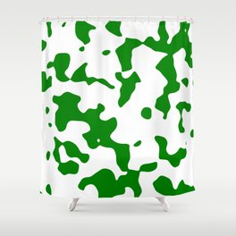 Large Spots - White and Green Shower Curtain