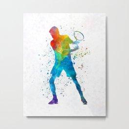 Man tennis player 02 in watercolor Metal Print