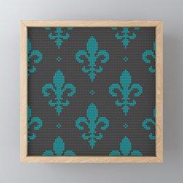 Modern textured Fleur de Lis pattern teal on black Framed Mini Art Print