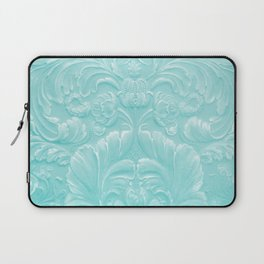Robin Egg Blue Tooled Leather Laptop Sleeve