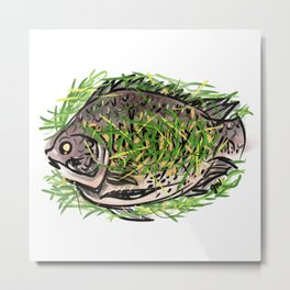 Steamed Fish Metal Print