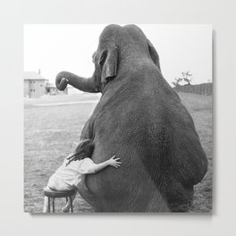 Odd Best Friends, Sweet Little Girl hugging elephant black and white photograph Metal Print