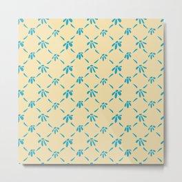 Floral Geometric Pattern Hawaiian Ocean and Sand Metal Print
