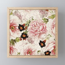 Vintage Peony and Ipomea Pattern - Smelling Dreams Framed Mini Art Print