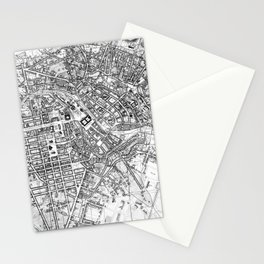Vintage Map of Berlin (1846) BW Stationery Cards