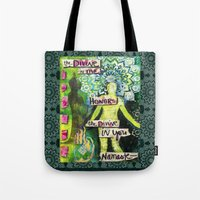 namaste Tote Bags featuring Namaste by Jessica Beth Sporn