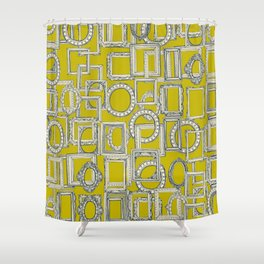 picture frames aplenty indigo chartreuse Shower Curtain