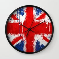 british flag Wall Clocks featuring BRITISH FLAG by Sophie