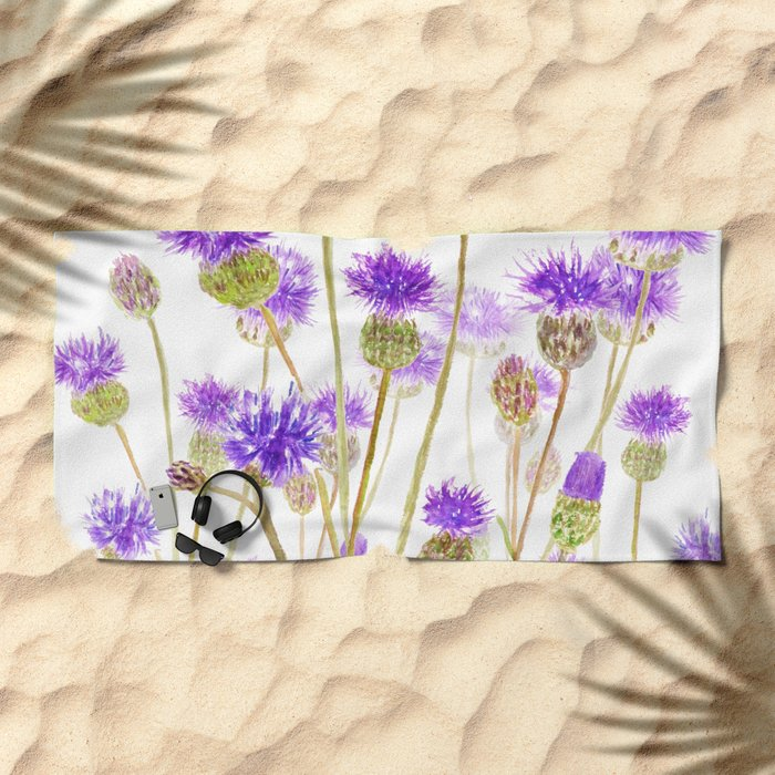 purple thorny wildflower Beach Towel
