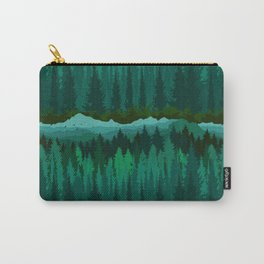 PNW Mountain Landscape in Emerald Green Carry-All Pouch