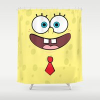 spongebob Shower Curtains featuring Spongebob by JayPii