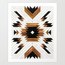 Urban Tribal Pattern 5 - Aztec - Concrete and Wood Art Print