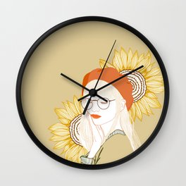 Sunflower Girl with Glasses Wall Clock