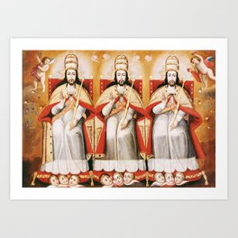 The Enthroned Trinity as Three Identical Figures, 1720 Art Print