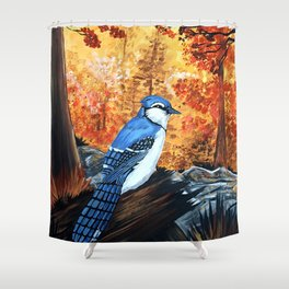 Blue Jay Life Shower Curtain