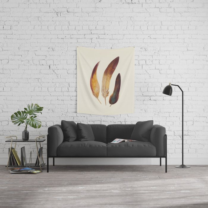 Three Feathers Wall Tapestry