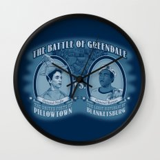 Pillowtown vs Blanketsburg Wall Clock