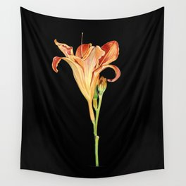 Orange Daylily Illustration Wall Tapestry
