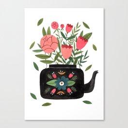Floral Kettle Canvas Print
