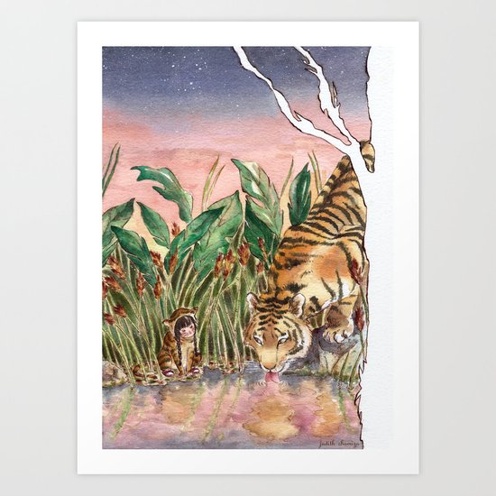 Thirsty Tigers Art Print