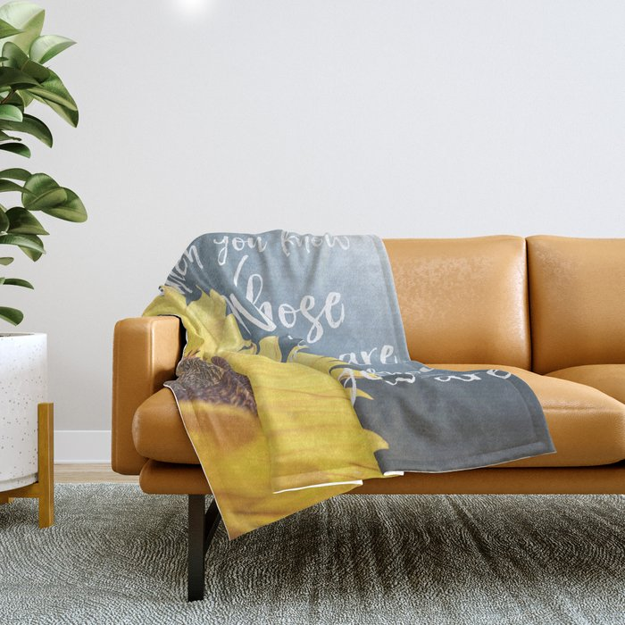 Sunflower with Faith Quote Typography Throw Blanket