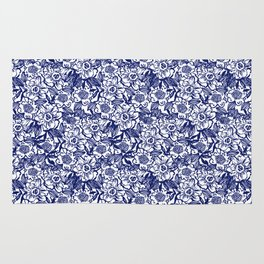 Indigo Florals watercolor painterly botanical boho pattern print nature spring summer monochromatic Rug
