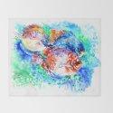 Underwater Scene Artwork, Discus Fish, Turquoise blue pink aquatic design by sureart