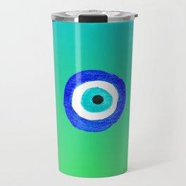 Single Evil Eye Amulet Talisman Ojo Nazar - ombre lime to tuquoise Travel Mug