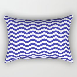 Waves (Navy & White Pattern) Rectangular Pillow