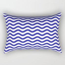 Waves (Navy & White Pattern) Rectangular Pillow