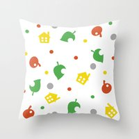 animal crossing Throw Pillows featuring Animal Crossing by Bradley Bailey