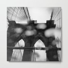 Brooklyn Bridge in the Rain Metal Print
