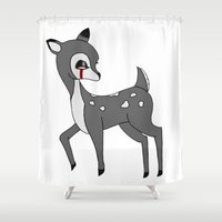 fawn Shower Curtains featuring fawn by Megan Twisted