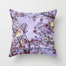 cedar waxwings and berries Throw Pillow
