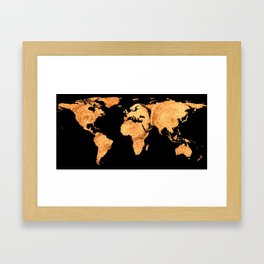 World Map Silhouette - Bales of Hay Framed Art Print