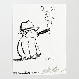 Fedora Ape Smokes Big Cigar Poster