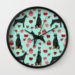 Doberman Pinscher love valentines day hearts cupcakes pattern dog breeds pet portraits Wall Clock