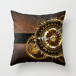 Steampunk Clock with Gears Throw Pillow