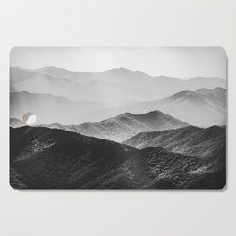 Glimpse - Black and White Mountains Landscape Nature Photography Cutting Board